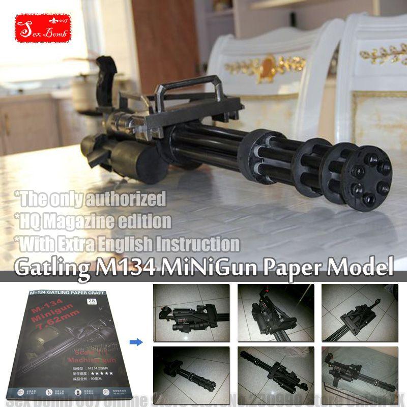 2017 Nouvelle Échelle Gatling M134 minigun 3D papier modèle jouet Machine gun cosplay armes pistolet Papier modèle Jouet figure