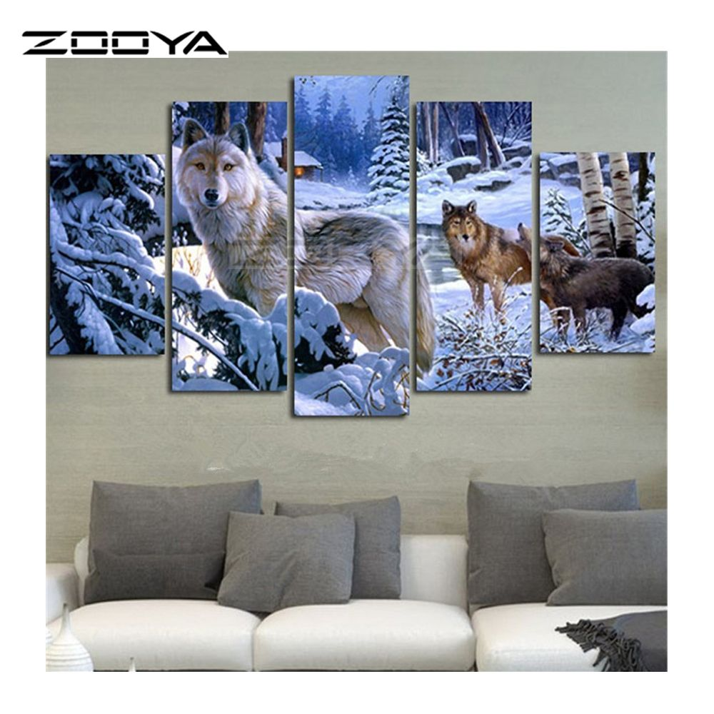 ZOOYA 5D Diy Diamond Painting Crystal Cross Stitch Home Decorative 3D Full Square Diamond Embroidery 5PC/SET Snow Wolf BK152