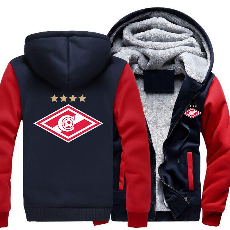 USA Size Spartak Moscow Logo Fashion Russian Premier League Coat Zipper Hoodie Winter Fleece Unisex Thicken Jacket Sweatshirts