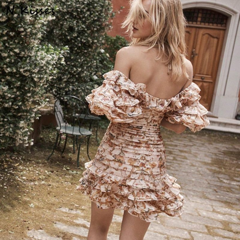 2018 Spring Print Beach Style Fashion Girl Off Shoulder Ruffle Short Lantern Sleeve Sexy Vocation Mini Women Dress XL Size