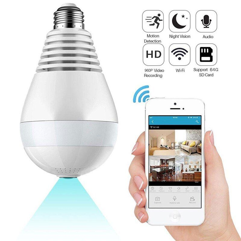 Wireless 960P Home Security Camera WiFi Panoramic Bulb LED Light 360 Degree Fisheye Security Surveillance with Two-way Audio