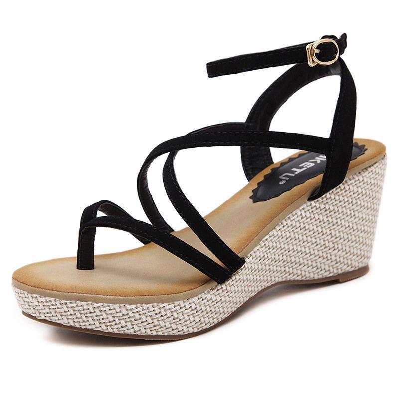 Women Sandals 2018 Summer Cross Tied Ladies Shoes Wedges Sandals Platform Shoes High Heels Sandals Women Gladiator Sandals