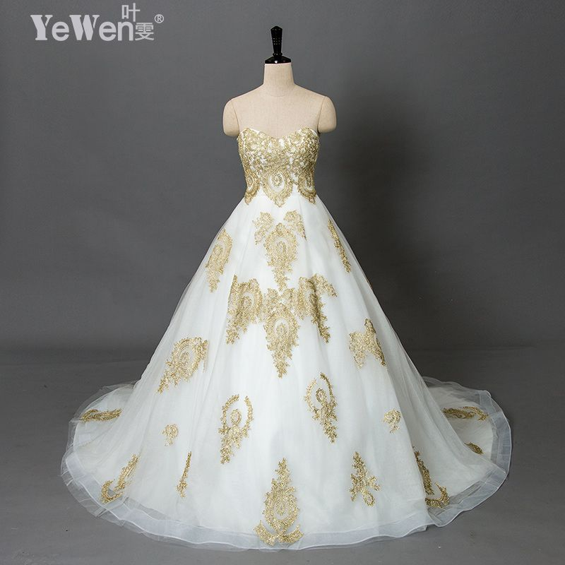 vintage beach plus size Gold white Sweetheart vestidos de novia praia cheap wedding dresses 2018 Lace african wedding gowns