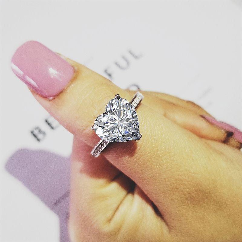 2019 Mode en gros solide 925 en argent sterling coeur forme promise ring pour les femmes de fiançailles moonso bijoux R4325S