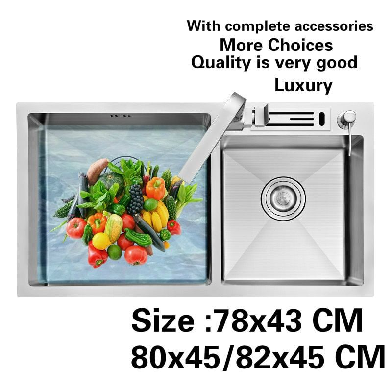 Free shipping Standard individuality kitchen sink durable bouble bowl food-grade stainless steel hot sell 78x43/80x45/82x45 CM