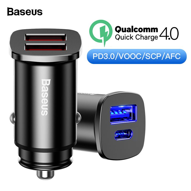 Baseus Charge Rapide 4.0 3.0 USB Chargeur De Voiture Pour iPhone Huawei Booster 30 W QC QC4.0 QC3.0 Type C PD rapide De Voiture De Charge Chargeur