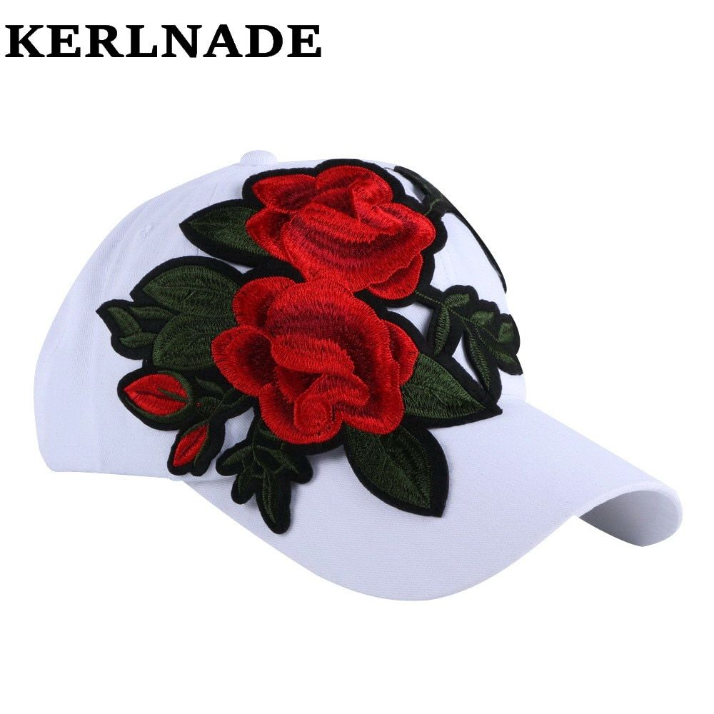 new fashion women girl brand baseball cap hats pink red white colorful denim cotton floral casual woman hat 58 CM sports caps