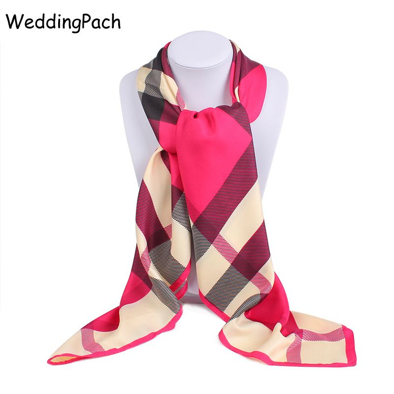 New Luxury Brand Scarf For Women Classic Plaid Square Noble Silk Scarf Women Bandana Scarf Shawl Women Accessories 100*100 cm