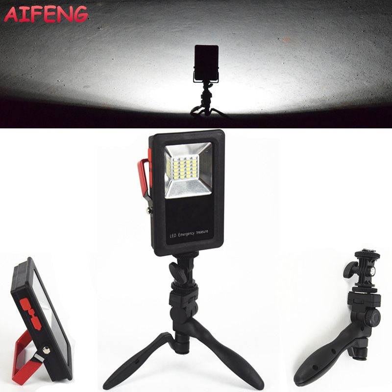 AIFENG 24 SMD LED White+Red+Blue Light Portable <font><b>Spotlight</b></font> 30W 2400LM Rechargeable Floodlight For Emergency Camping 18650 Operate