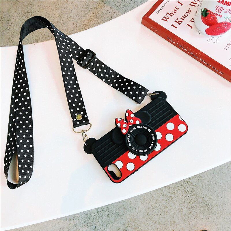 Cute Cartoon 3D Silicone Case with Shoulder Lanyards for iPhone XS MAX XS XR X 7 8 plus 7 8 6 6s 6s plus Funda Case with Holder