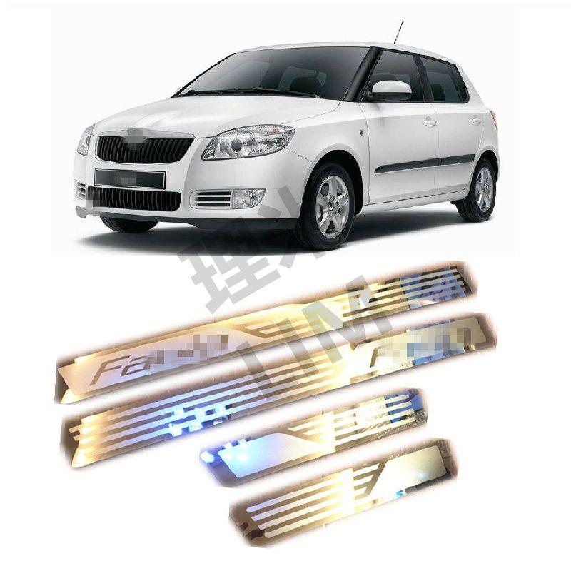 Convient pour Skoda Fabia 2008 2009 2010 2011 2012 2013 acier inoxydable plaque de seuil de porte garniture accessoires de voiture