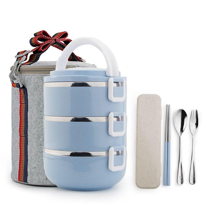 Нержавеющаясталь утепленная Термальность Bento обед коробок Пикник Еда контейнер для хранения дети студент Портативный Ланчбокс японский С...