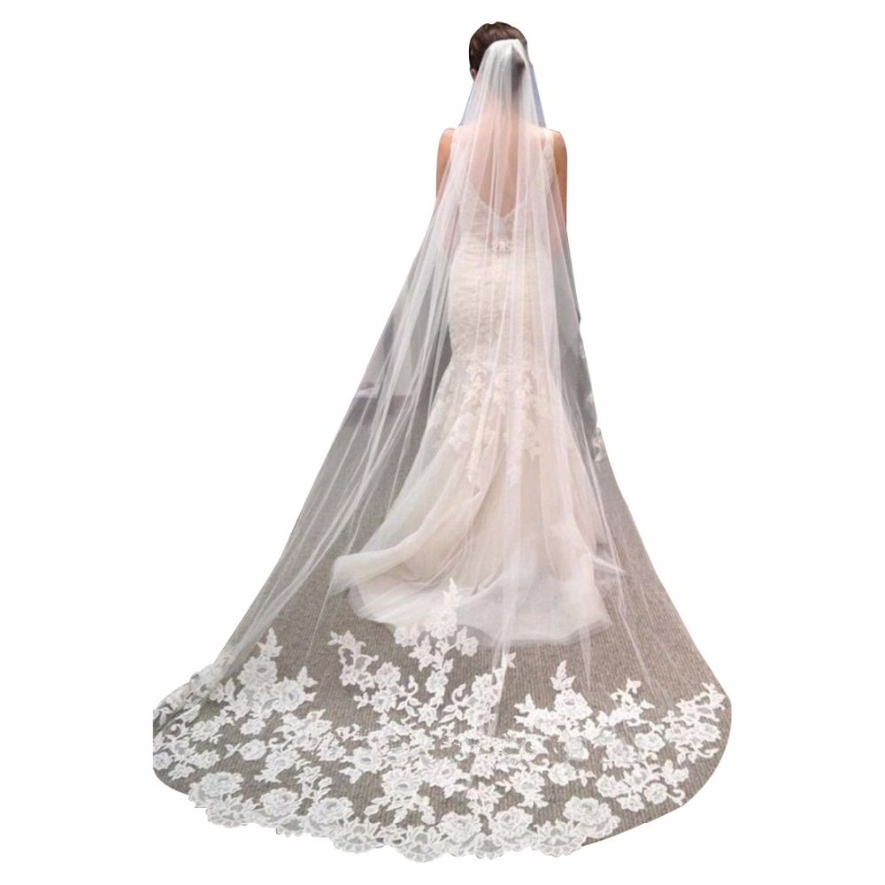 Romantic Wedding Veil Cathedral Length Lace Edge Soft Tulle Sheer Long Bridal Veil with Comb 3 Meters veu de noiva longo 2017