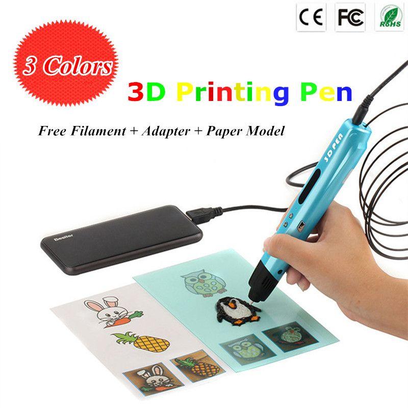 3 цвета выбрать 3D Рисунок пером 1.75 мм ABS PLA pcl нити 3d ручка со светодиодной Экран Best подарок для детей 3D-принтеры Ручка Бесплатная доставка
