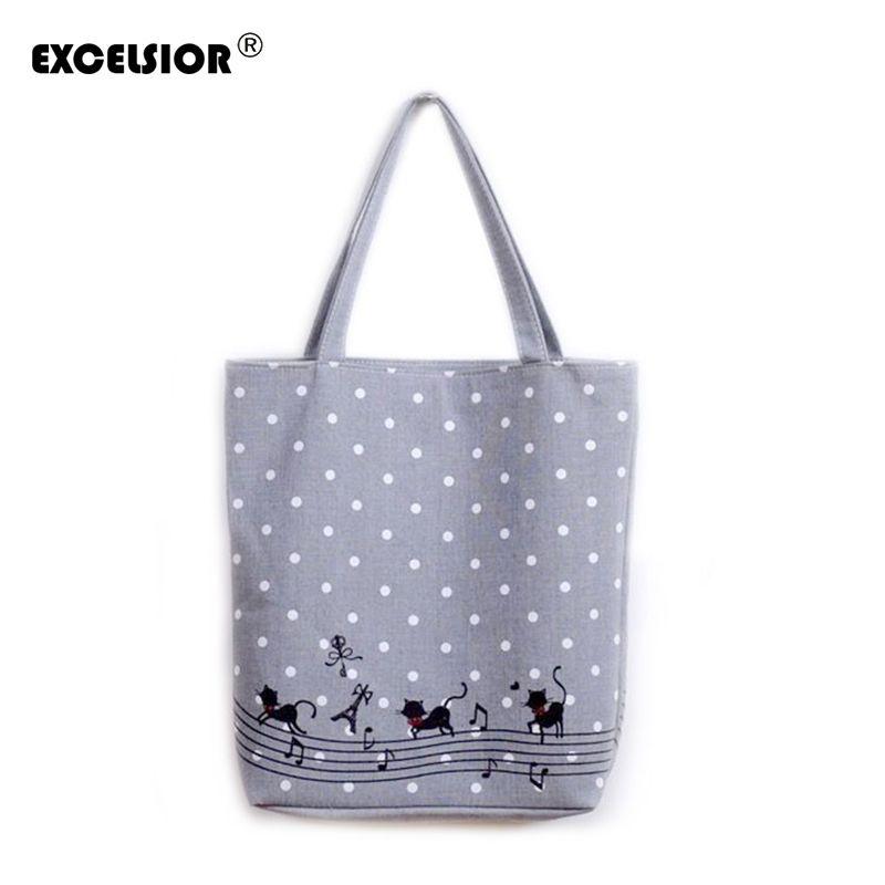 EXCELSIOR Женская милый мультфильм музыка товары для кошек печатных хозяйственная сумка дамы одно плечо холст сумки женский пляжная