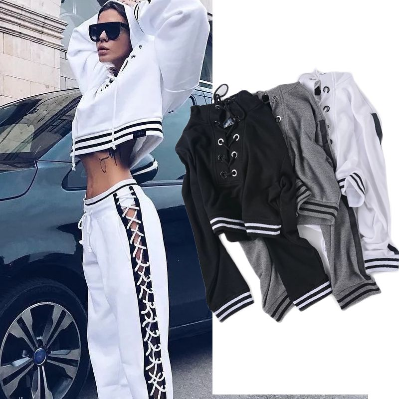 High Street Lace Up Crop Hoodies Sweatshirts Women Hooded Short Pullover Female 2017 Spring Tracksuit for Women Crop Tops p35