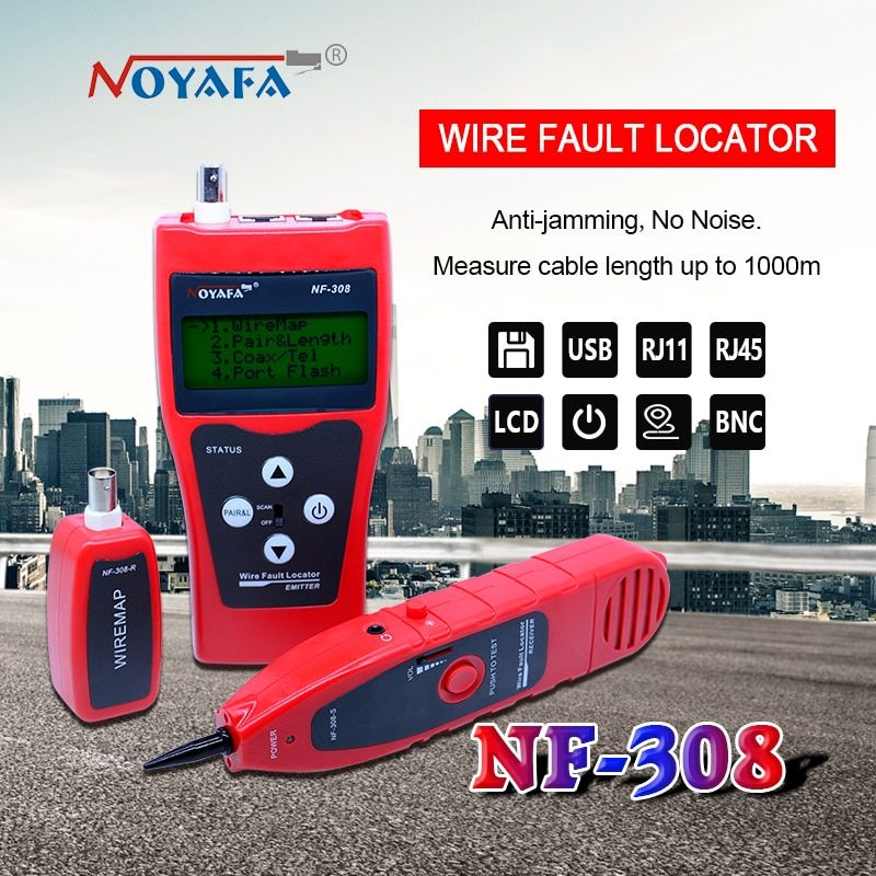 Network monitoring cable <font><b>tester</b></font> LCD NF-308 Wire Fault Locator LAN Network Coacial BNC USB RJ45 RJ11 red color