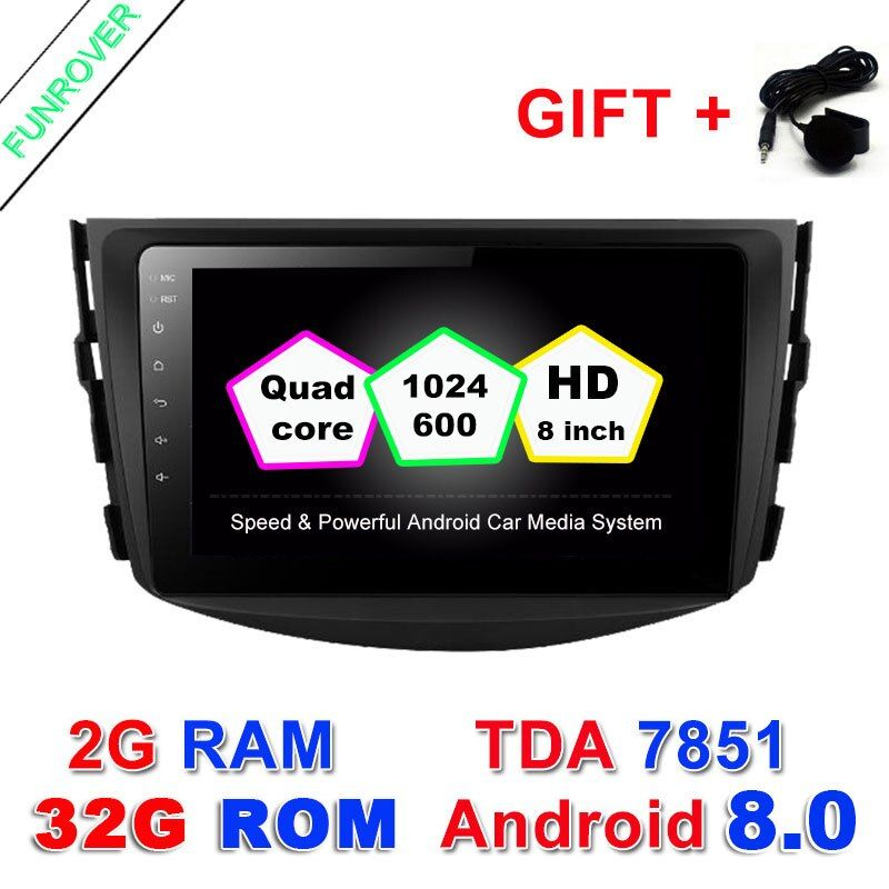 Funrover Android 8.0 2G+32GROM Car dvd Player For Toyota RAV4 Rav 4 2007 2008 2009 2010 2011 2 Din 1024*600 gps navigation wifi