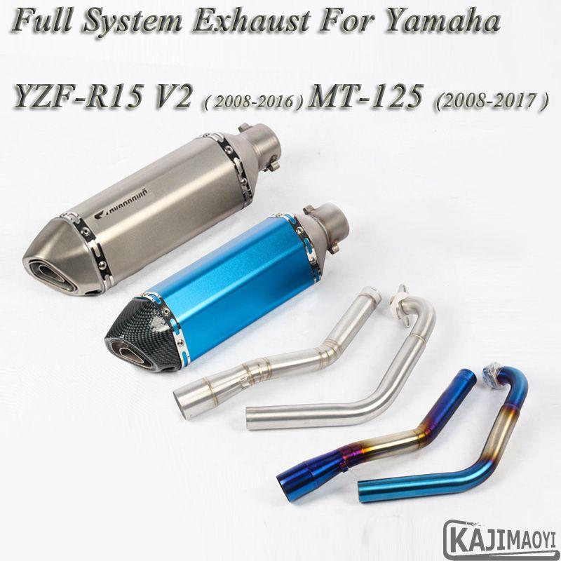 R15 Motorrad Volle System Auspuff Flucht Slip-on Für Yamaha YZF-R15 V2 MT-125 Geändert Vorne Verbindung Rohr Schalldämpfer DB mörder