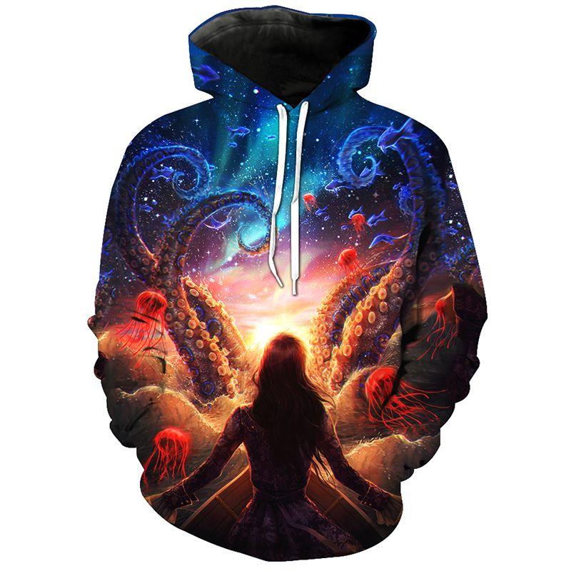 Cloudstyle 2018 3D Hoodies Sweatshirts Men Octopus Jellyfish Sea World 3D Print Hoody Pullovers Fashion Tops Plus Size 5XL