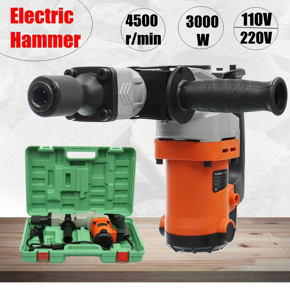 220V Electric Drills 3000W Electric Demolition Hammer Drill Concrete Breaker Punch Jackhammer 3000BPM