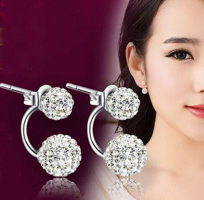 925 pendientes de plata pura femenina elegante chispeante brillante bola de cristal de Shambhala accesorios pendiente del perno prisionero antialérgico