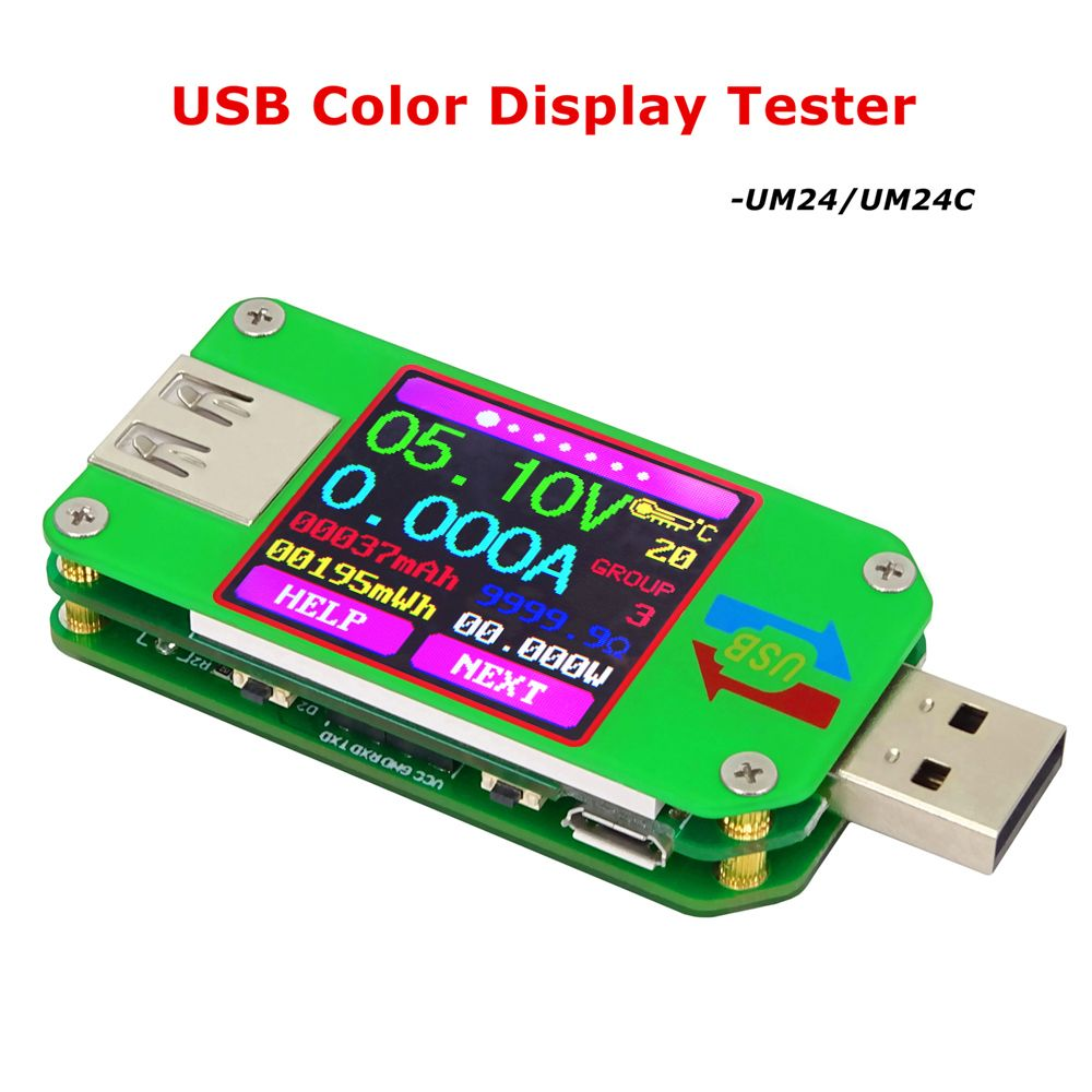 RD UM24C Color LCD 2.0 USB tester Voltmeter Ammeter Voltage Current Meter Battery Charge Cable Impedance Communication Version