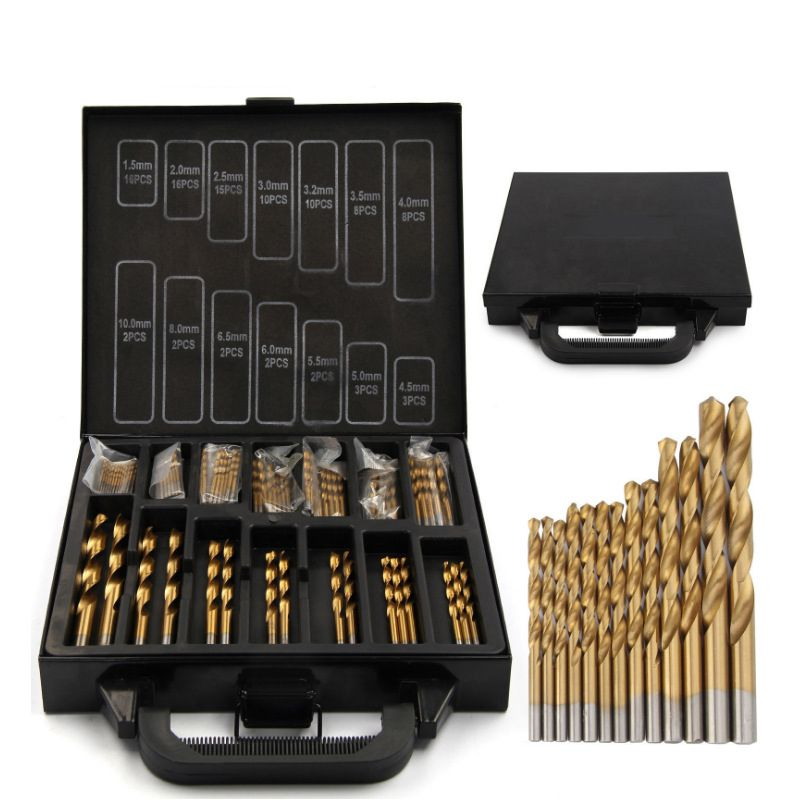 99 stücke HSS Spiralbohrer Set Eisen Box verpackung 1,5-10mm Titan Beschichtete Oberfläche 118 Grad Für bohren Metall