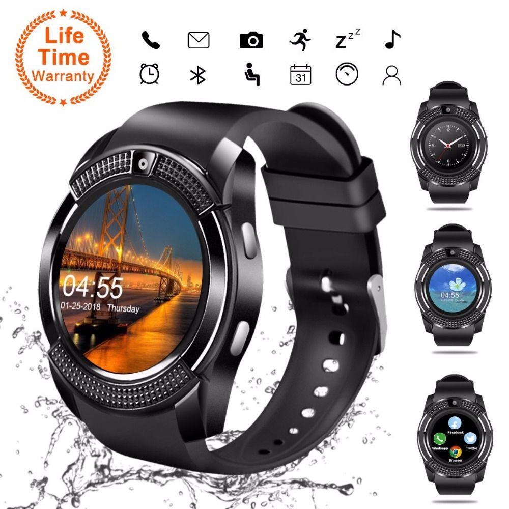 V8 SmartWatch Bluetooth Smartwatch montre-bracelet à écran tactile avec emplacement pour caméra/carte SIM, montre intelligente étanche DZ09 X6 VS M2 A1