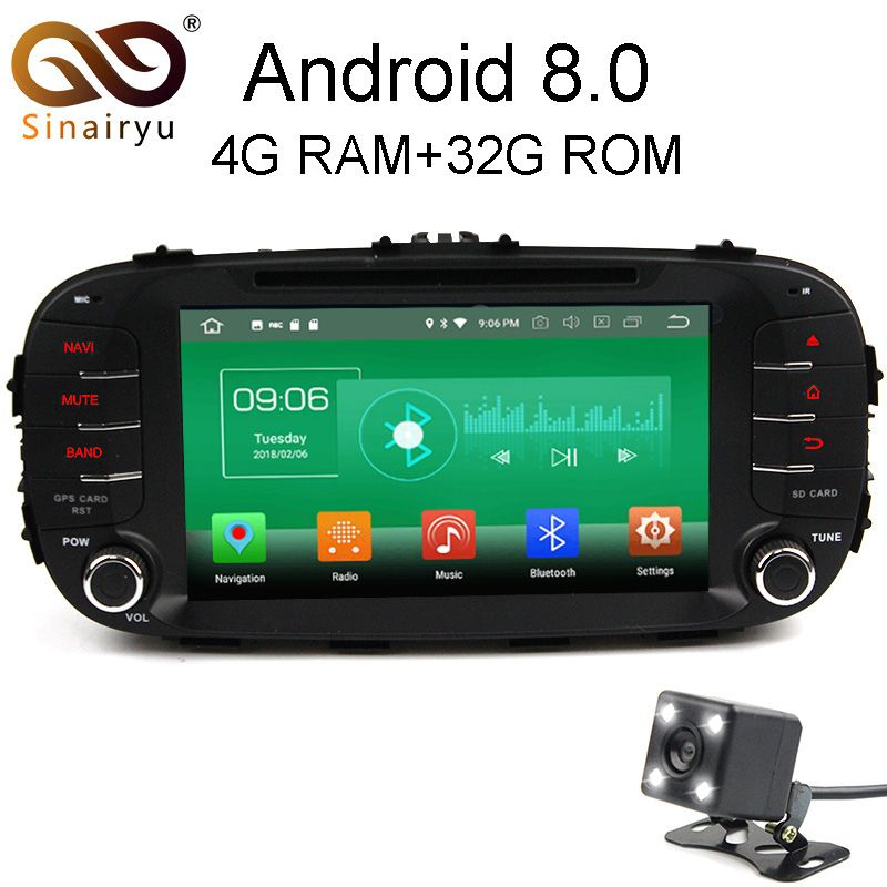 Sinairyu 4G RAM Android 8.0 Car DVD For Kia Soul 2014 2015 2016 Octa Core 32G ROM Radio GPS Player Head Unit