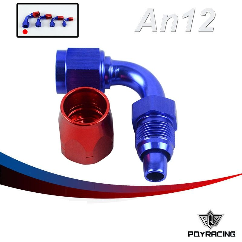 PQY RACING- 12AN 12 AN 90 DEGREE SWIVEL OIL FUEL GAS LINE HOSE END FITTING ADAPTOR CUTTER STYLE PQYU-SL3090-12-311