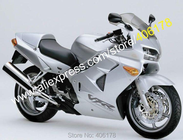 Hot Sales,For Honda VFR800 1998 1999 2000 2001 VFR 800 98 99 00 01 VFR 800RR All Silver Bodyworks ABS Motorcycle Fairing Kit