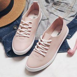 Новинка 2018 года; женские розовые кроссовки; Женская Белая обувь на плоской подошве со шнуровкой; универсальная женская обувь на плоской под...