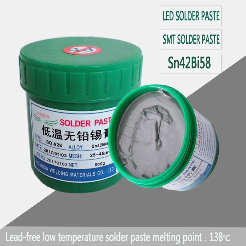 Vente CHAUDE! Basse température sans plomb pâte de soudure de SMT pâte à souder à bas point de fusion Sn42Bi58 500g