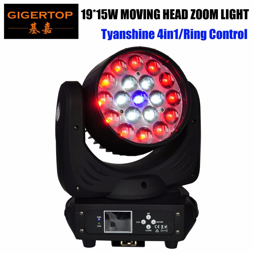 TIPTOP TP-L640A 19X15W Led Zoom Moving Head Beam Wash Light 300W High Power RGBW 4IN1 Tyanshine Single Zoom Motor 13/24 Channels