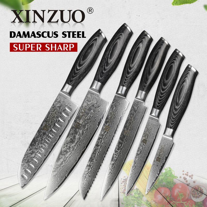 XINZUO 6 stücke Küchenmesser Sets Hohe Carbon Japanischen VG10 Damaskus Stahl Chef Santoku Brot Utility Messer Pakka Holz Griff