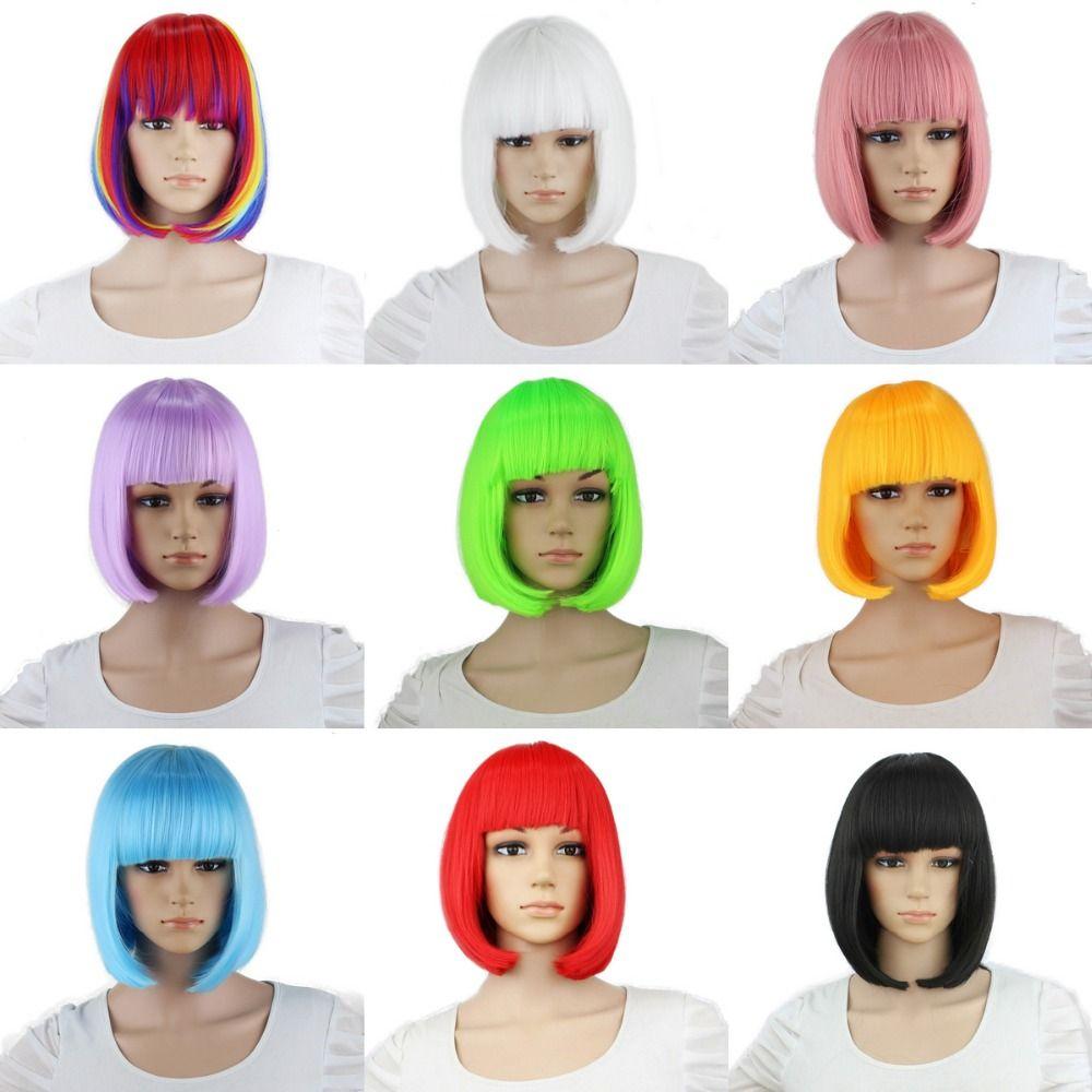 Yiyaobess synthétique 10 pouces droit court Bob perruques frange bleu doré rouge noir blanc violet rose vert brun Cosplay perruque femme
