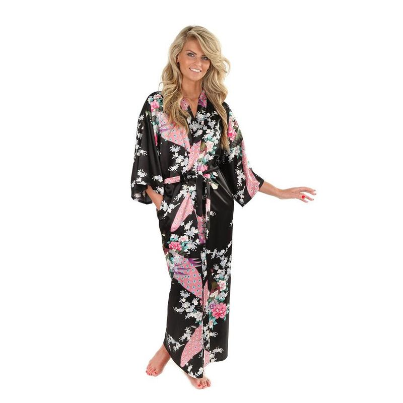 Brand New Black Women Satin Kimono Robes Long Sexy Nightgown Vintage Printed Night Gown Flower Size S M L XL XXL  XXXL A-045