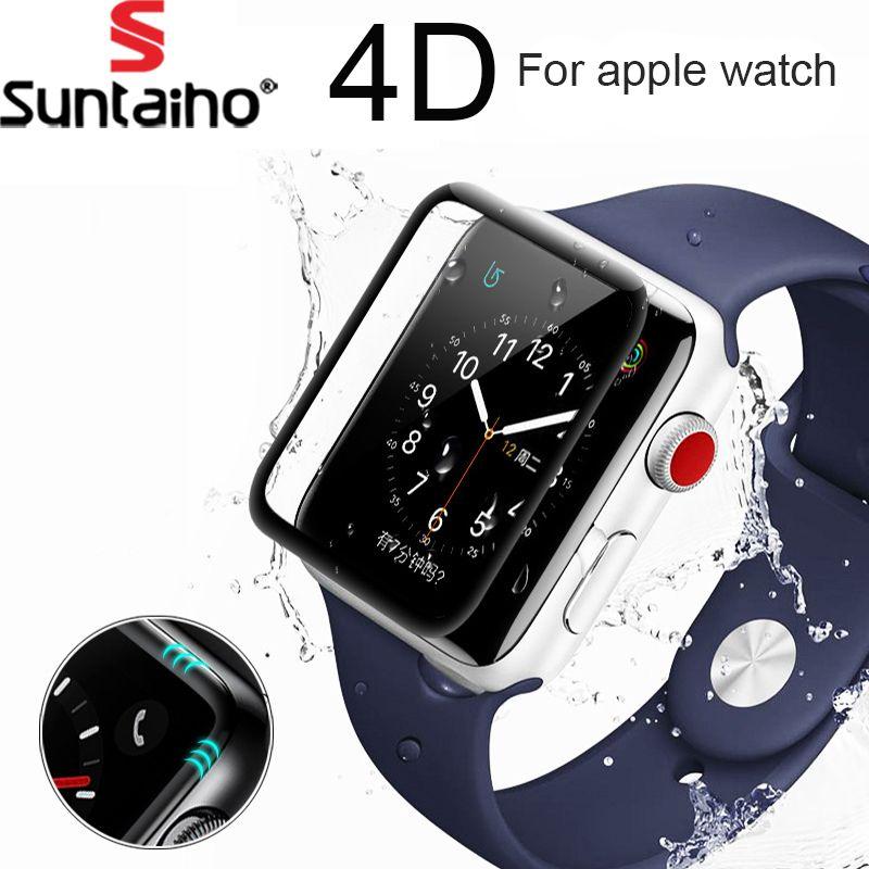 Suntaiho 4D/3D gekrümmten oberfläche 9 H Gehärtetem film Für Apple uhr 38mm 42mm Displayschutzfolie für Apple Serie uhr 1/2/3 Film