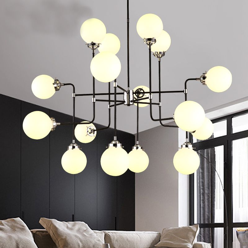 loft industrial Beanstalk creative minimalist Nordic Iron Art glass ball pendant light living room restaurant pendant lamp