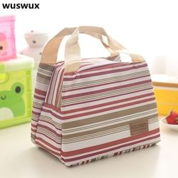 New Fashion Cartoon stripe Portable Children Insulated lunch Bag Thermal Food Picnic Bag Women kids thermo food bag