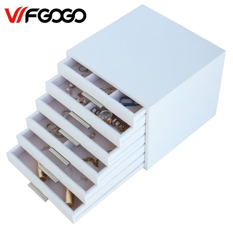 WFGOGO Custom Wooden Jewelry Makeup organizer E0 E1 MDF Storage box Beautiful Design box Jewelry for display,Support OEM & ODM