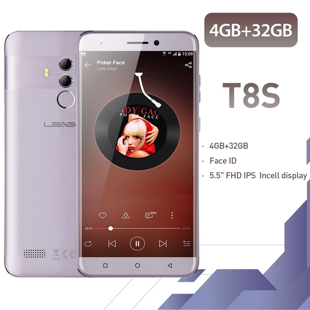 LEAGOO T8s Face ID Smartphone 5.5''FHD Incell RAM 4GB ROM 32GB Android 8.1 MT6750T Octa Core 3080mAh Dual Cams 4G Mobile Phone