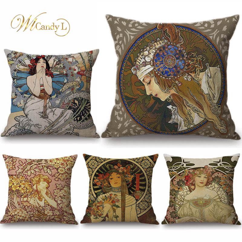 WL Candy L Vintage European Art Nouveau Mucha Gallery Cushion Cover Home Decorative Beautiful Girl Pattern Linen Pillow Cover