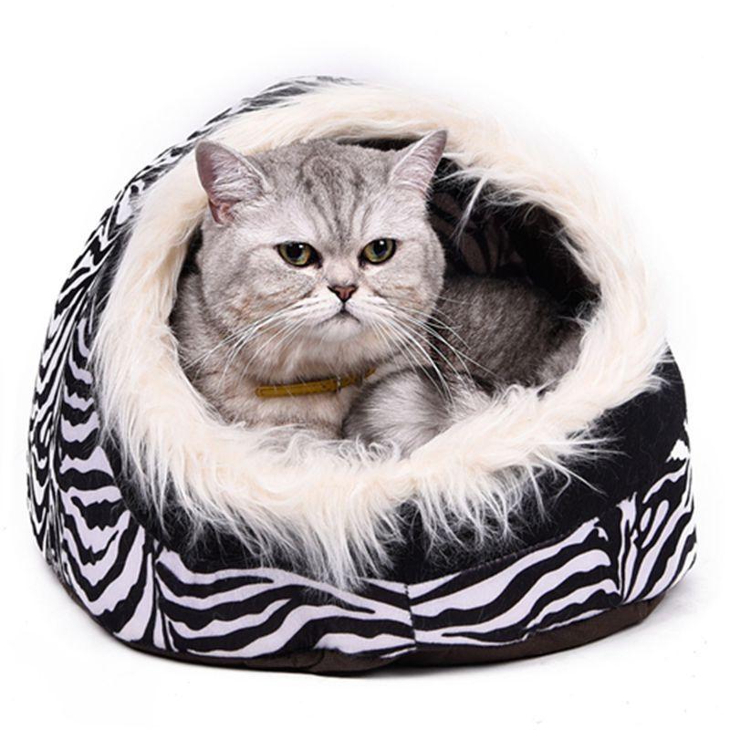 Super chaud chat grotte lit chien maison chiot chenil abri pour Kitty lapin et nid pour chaton petits animaux bord avec poils doux
