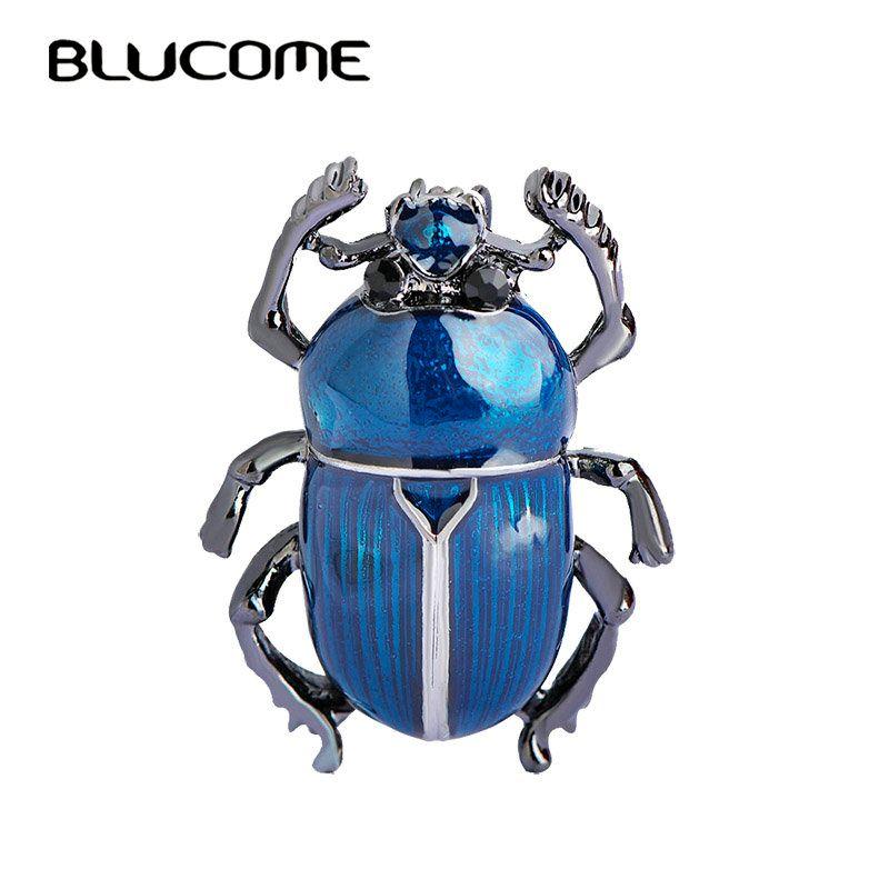 Blucome Azul Teflon Pequeña Cucaracha Insectos Broches de Esmalte del Color del Oro Broche Vintage Women Sombreros Bufanda Clips Joyas Bijoux