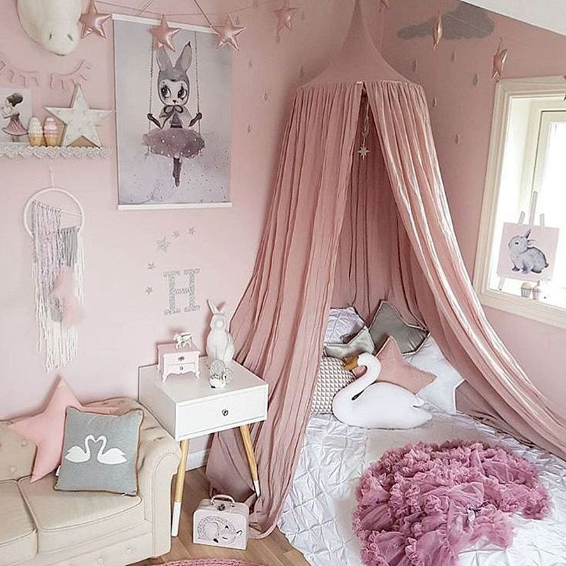 Kid Bed Canopy Bed Curtain Round Dome Hanging Mosquito Net Tent Curtain Moustiquaire Zanzariera Baby Playing Home Klamboe