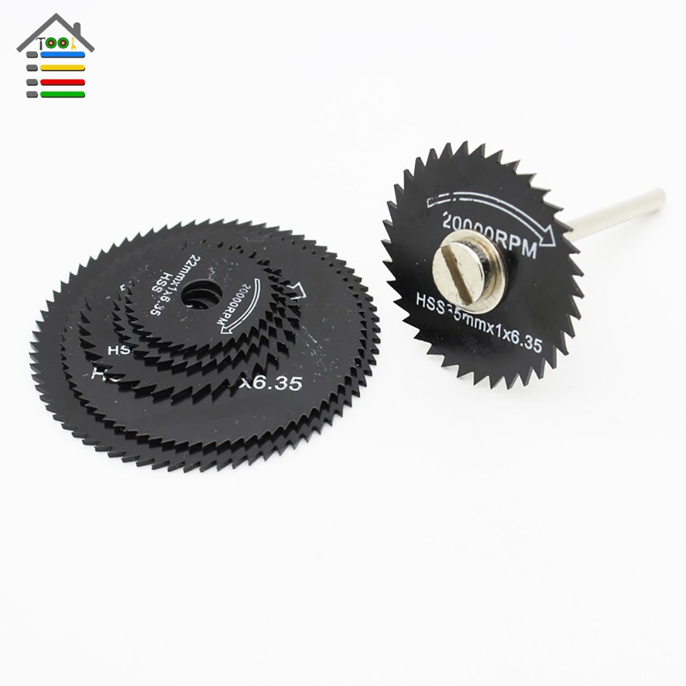 AUTOTOOLHOME 7pcs HSS Black Saw Blades Cutting Cut Off Disc Wheels Set 6 Sizes For Dremel 4000 3000 Rotary Tools