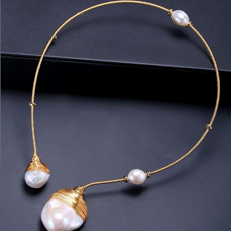DAIMI Luxus Handgemachte Kragen Riesige Barocke Perle mit Handgemachte Handgemachten Schmuck Halsband Halskette Weibliche Perle Schmuck