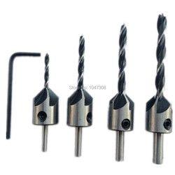 4 Pcs Tukang Kayu Bor/Bor Tekan Countersink Set Membosankan Bit Mata Bor Countersink Industri Pertukangan Reamer Bit Bor Inti